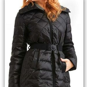 Big Chill Women's Long Belted Down Blend Coat Blac